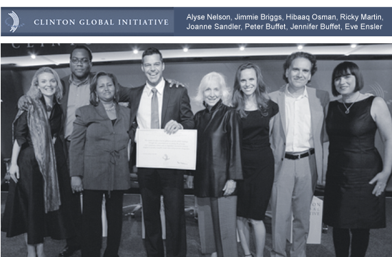 Man Up Campaign launch at CGI 2009 with Alyse Nelson (Vital Voices), Jimmie Briggs (Man Up Campaign), Hibaaq Osman, Ricky Martin, Joanne Sandler (UNIFEM), Jennifer Buffett (NoVo Foundation), Peter Buffett (NoVo Foundation), Eve Ensler (V-Day)